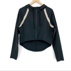 OAKLEY Crop Zip Up Athletic Jacket Black Nude S